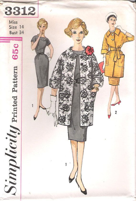 Vintage Simplicity Sewing Pattern 3312 1960\'s Mad Men Womens Wiggle ...
