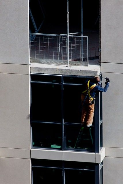 One Sherway (November 2012) - Installing window frames; don't look down (even if you're safely tied-off!)