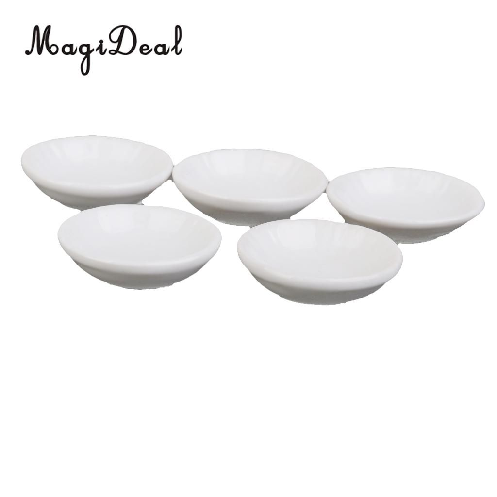 10pcs 1//6 Dollhouse Miniature Kitchen Furniture White Plate Dish Tray Decor
