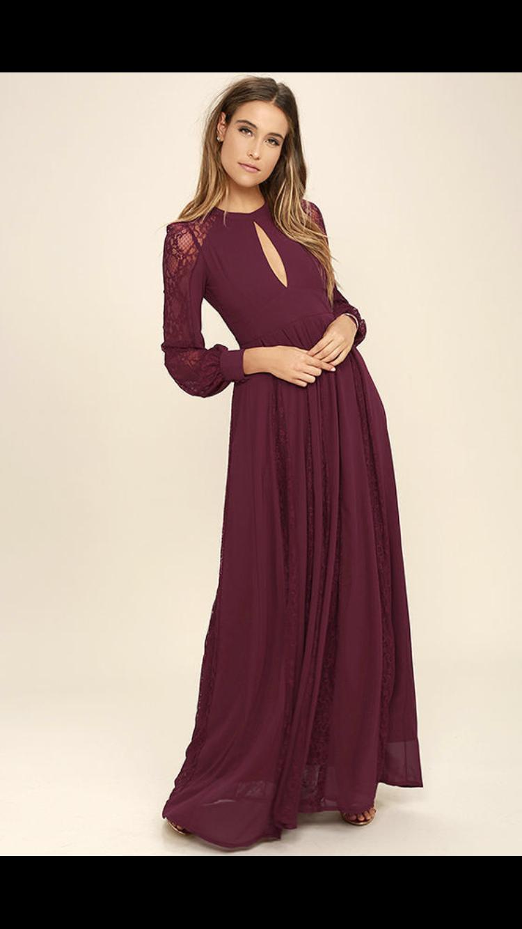 Pin By Cecily Blauser On Make That Dress Long Sleeve Burgundy Dress Long Sleeve Bridesmaid Dress Burgundy Dress [ 1334 x 750 Pixel ]