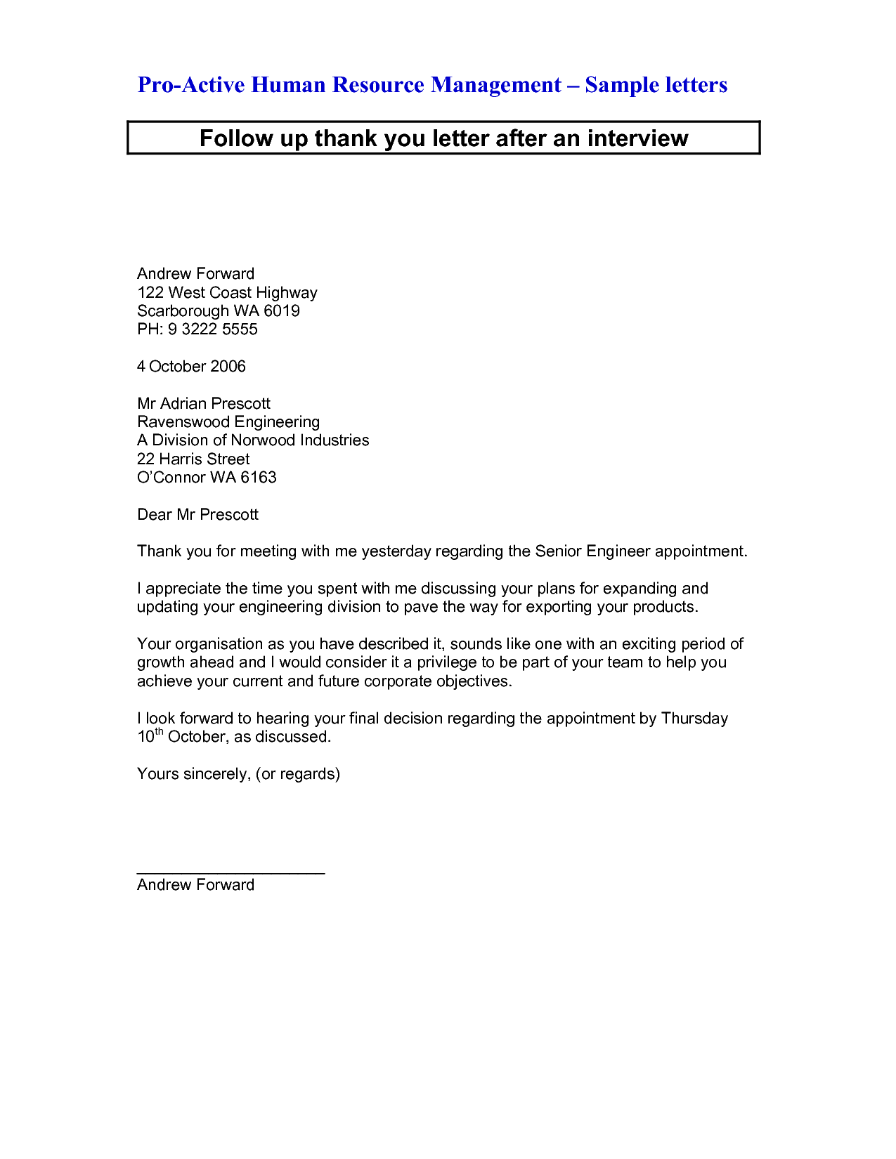 thank you letter after interview email sample phone