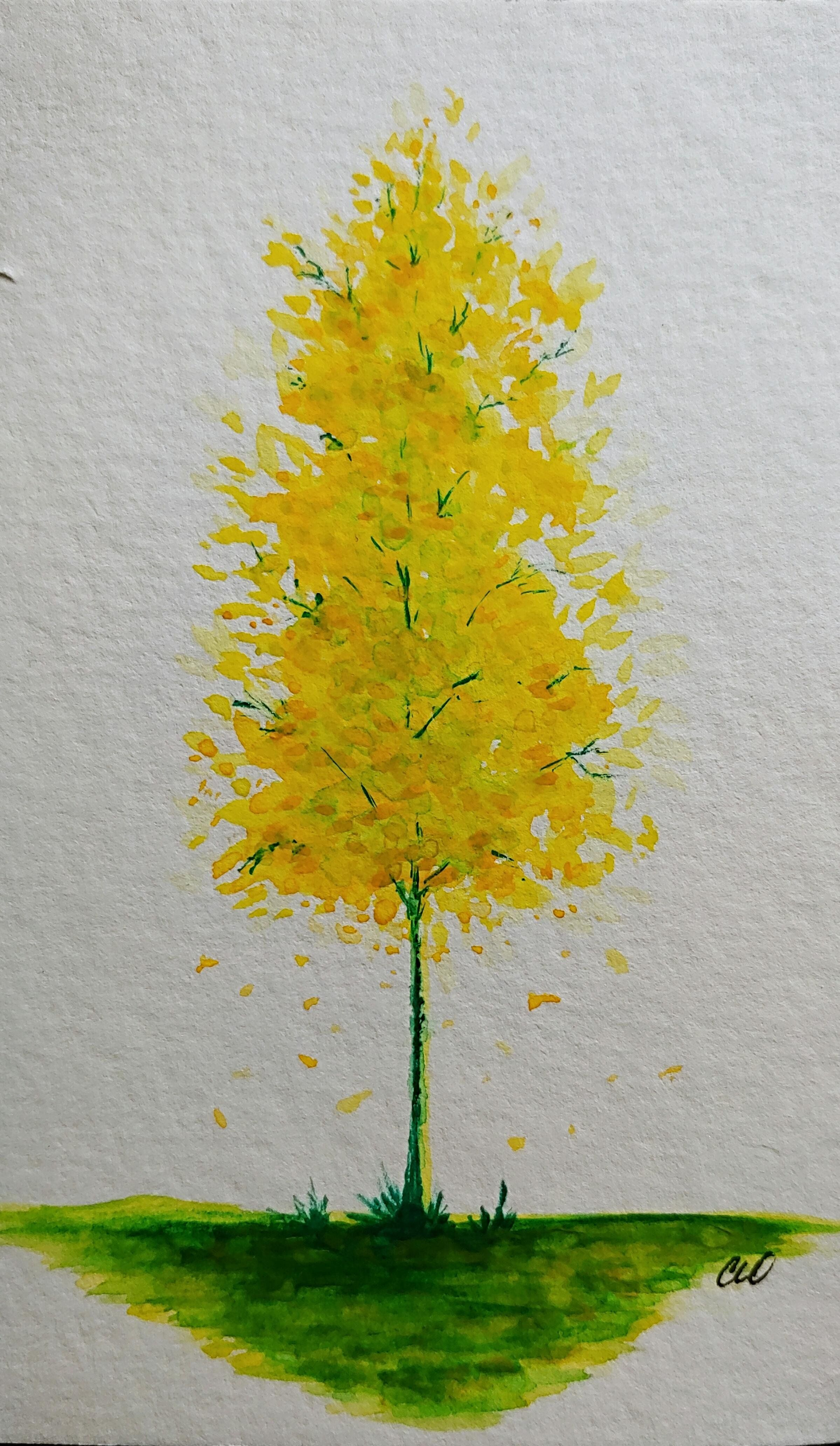 Happy Little Yellow Tree 4x6 Watercolor Art Watercolor
