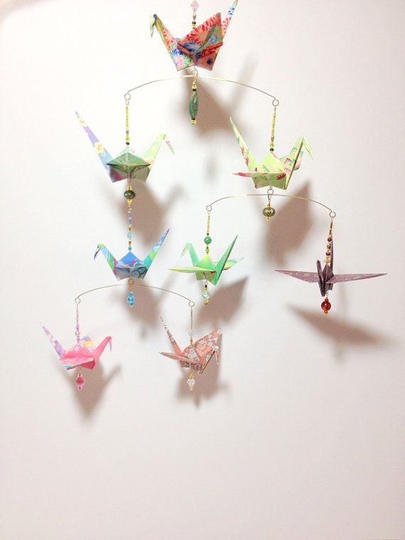 Articoli Simili A Origami Chandelier Wedding Decorations Hanging Cranes Mobile Beaded Ornament Birthstones