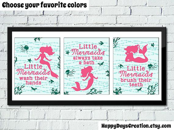 Set Of 3 Little Mermaid Bathroom Rules Girl S Bathroom Decor Mermaid Decor Kids Bathroom D Little Mermaid Bathroom Girl Bathroom Decor Little Girl Bathrooms