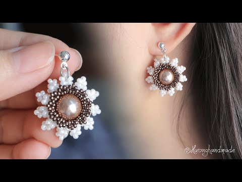 White daisy flower earrings diy. How to make beade