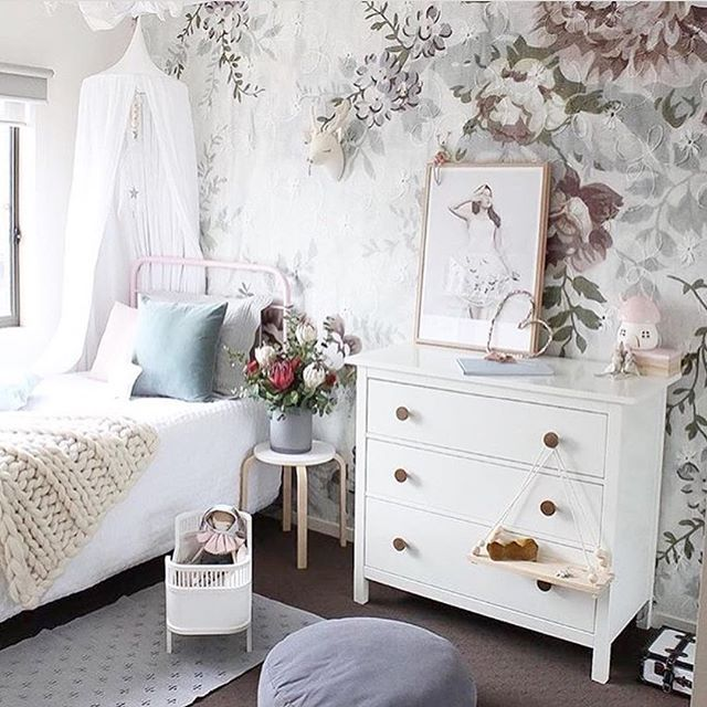 Gorgeous styling once again by @houseofharvee 🙌🏻 That floral wall is just amazing!! We have white #numero74 canopies in stock... that's right... in stock!!! Jump online to order yours, link in bio #petitejoliekids #kidsstyling #kidsroom #kidsdecor #kidsstyle #nursery #nurserydecor