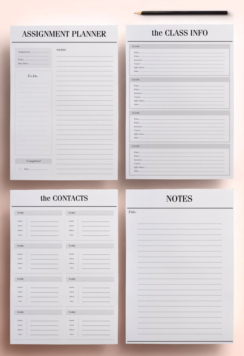 student planner a4 a5 college planner printable student agenda