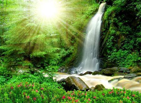 Sunny Waterfall Waterfalls Wallpaper Id 1583932 Desktop Nexus Nature Vodopady Zelenyj