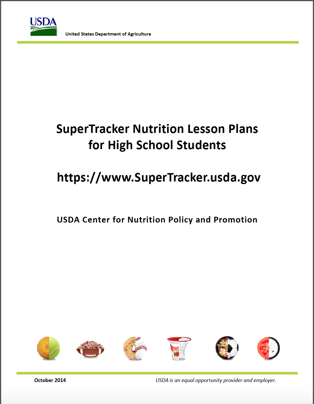 Supertracker Nutrition Lesson Plans For High School