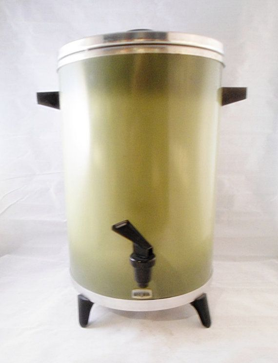 30 Cup West Bend Electric Percolator Olive Spring Green Vintage