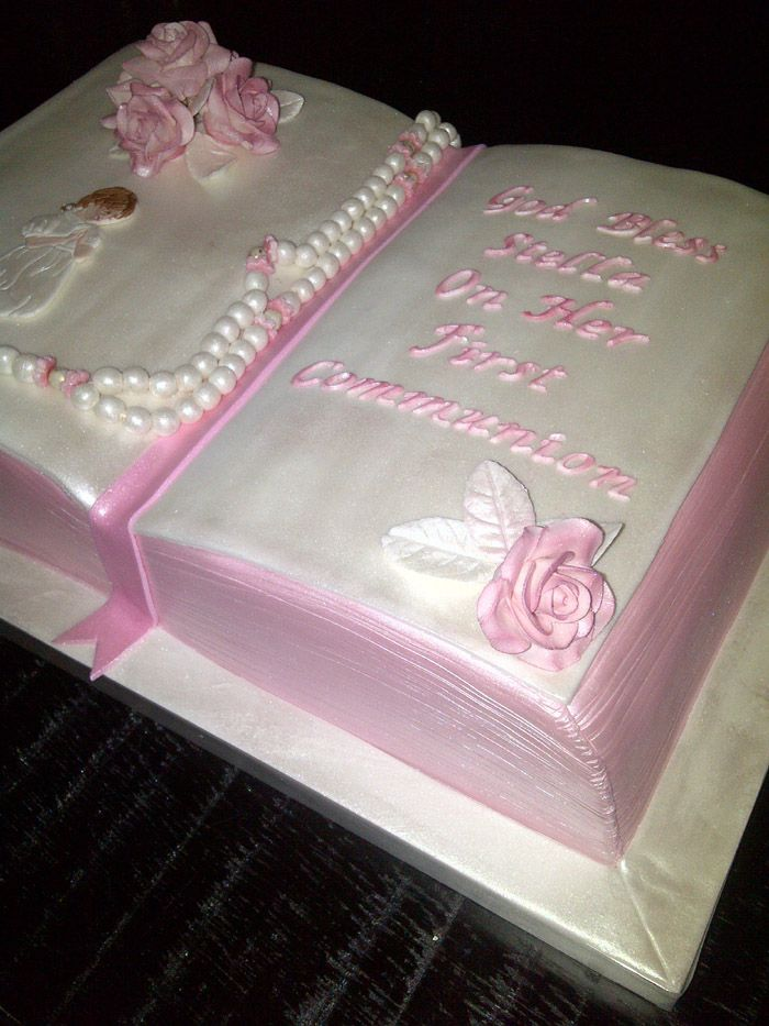 The Sweetest Tiers - Pink Bible First Communion Cake ...