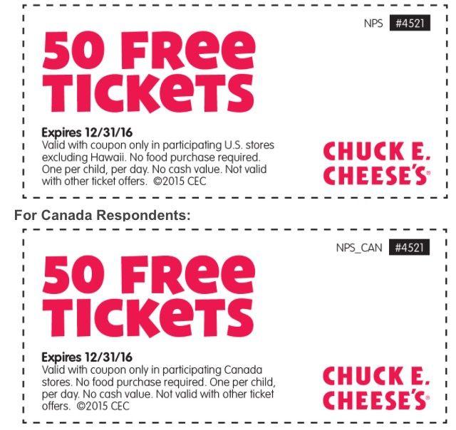 Chuck E Cheese 50 Free Tickets Exp 123116 Chucky Cheese Birthday Party Chuck E Cheese Birthday Chuck E Cheese