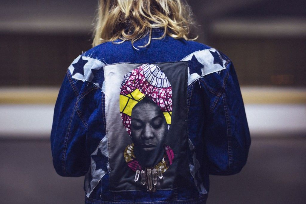 Custom vintage denim jacket with Nina Simone, original african textiles, crystal gems embroidered as her necklace and denim stars, custom by @ceuhandmade