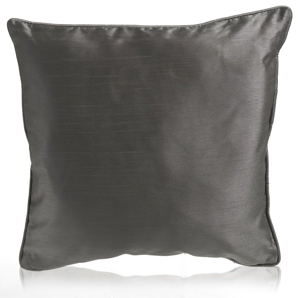 Wilko Faux Silk Charcoal Cushion 43x43cm