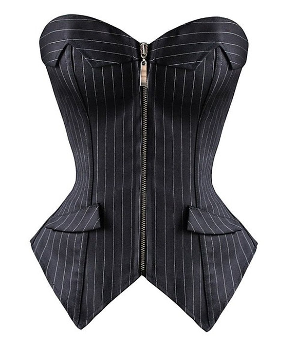 83e24cd1399 Loving this Daisy Corsets Black Pinstripe Strapless Corset - Women   Plus  on  zulily!  zulilyfinds