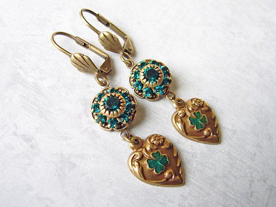 St Patrick's Day Shamrock Earrings Antique by smallbluethings, $26.00