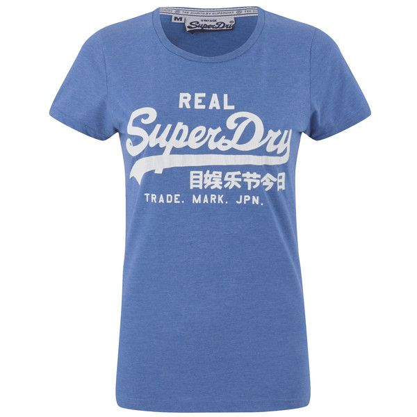 c24c9abb928814 Superdry Women s Vintage Logo Entry T-Shirt - Royal Blue Marl ( 31) ❤ liked  on Polyvore featuring tops
