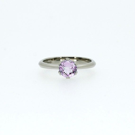 Light violet amethyst solitaire engagement ring made from white gold by TorkkeliJewellery on Etsy