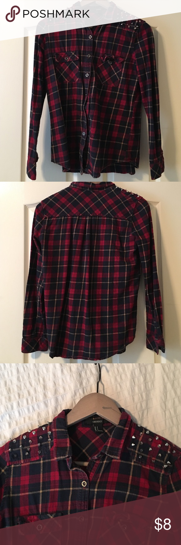 Forever 21 Red Flannel With Spike Embellisments Forever 21 red flannel with spike embellishments. Good condition. Forever 21 Tops Button Down Shirts
