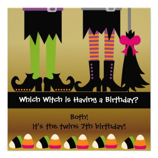 Twins Witch Halloween Birthday Party Invite 195 Exceptional