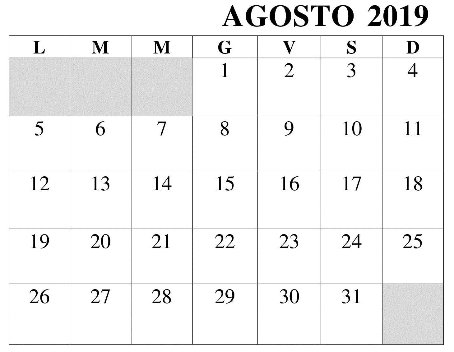 Agosto Calendario.Agosto Calendario Mensile 2019 Pdf Agosto Calendario 2019