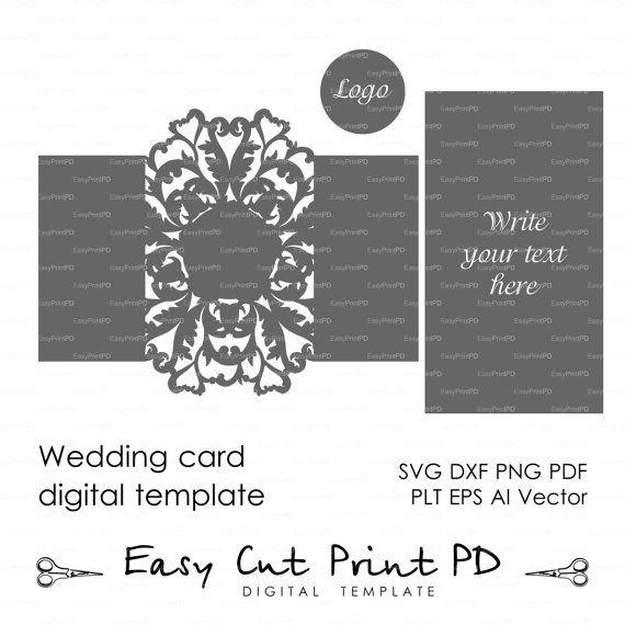Wedding invitation Card Template Flourish Lace folds COVER | Cards ...