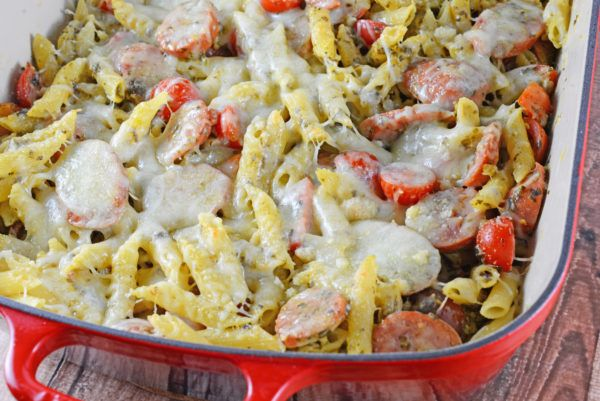 Pasta Bake is the perfect easy pasta dish for busy weeknights. Creamy pesto sauce, penne, smoked sausage and Italian cheese make this the perfect meal.