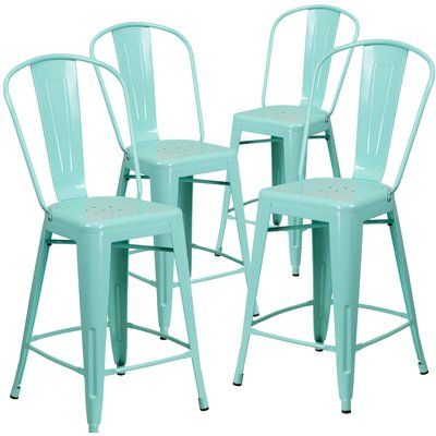 Flash Furniture Backless Purple Indoor-Outdoor Counter Height Stool 4-Pack 24-Inch