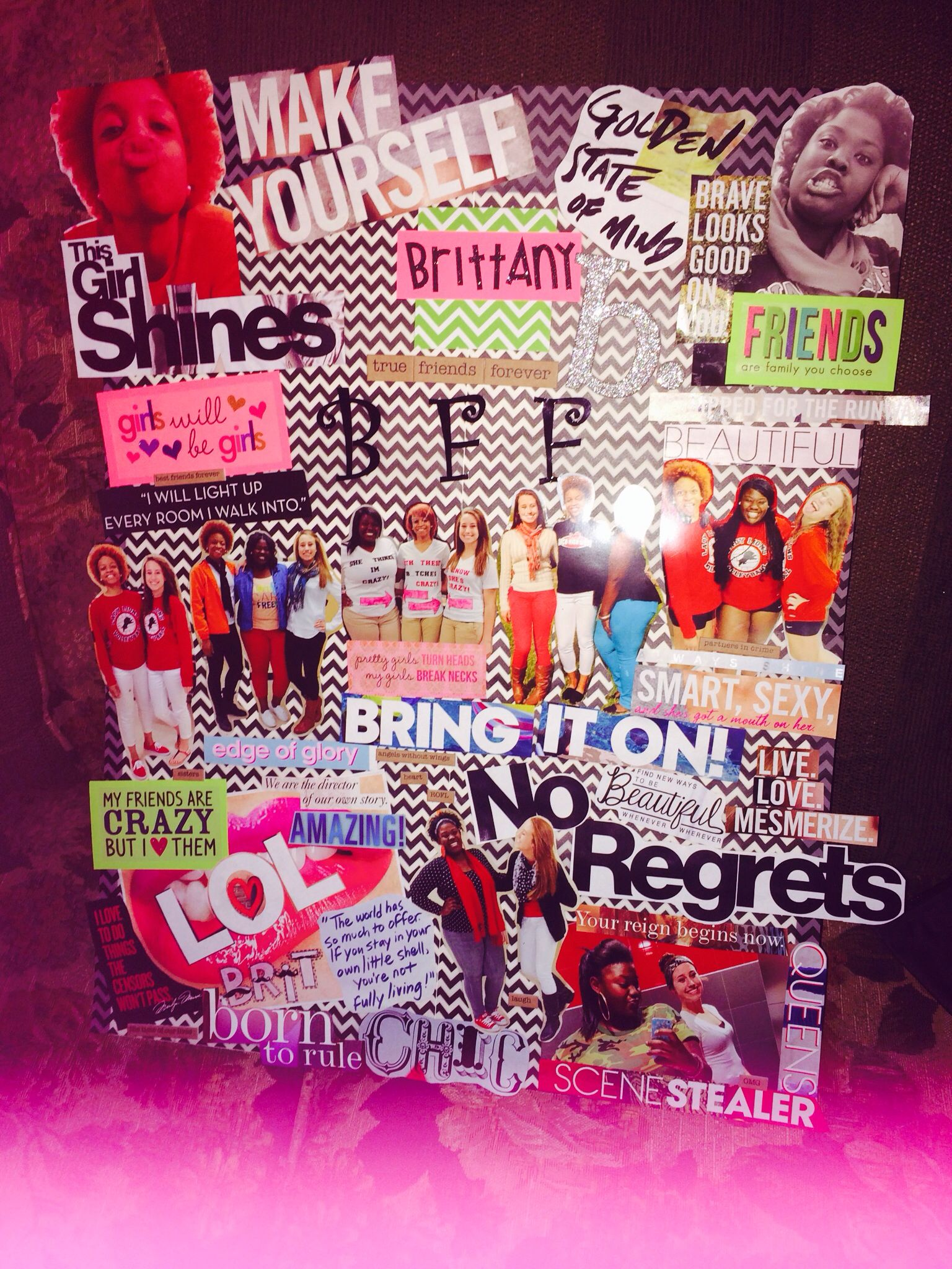 diy best friends forever collage made with magazine cut outs and