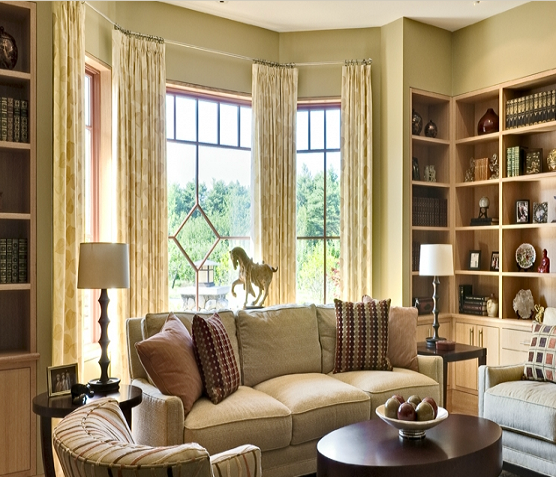 Family room well done well decorated rooms bay - Curtains for bay windows in living room ...