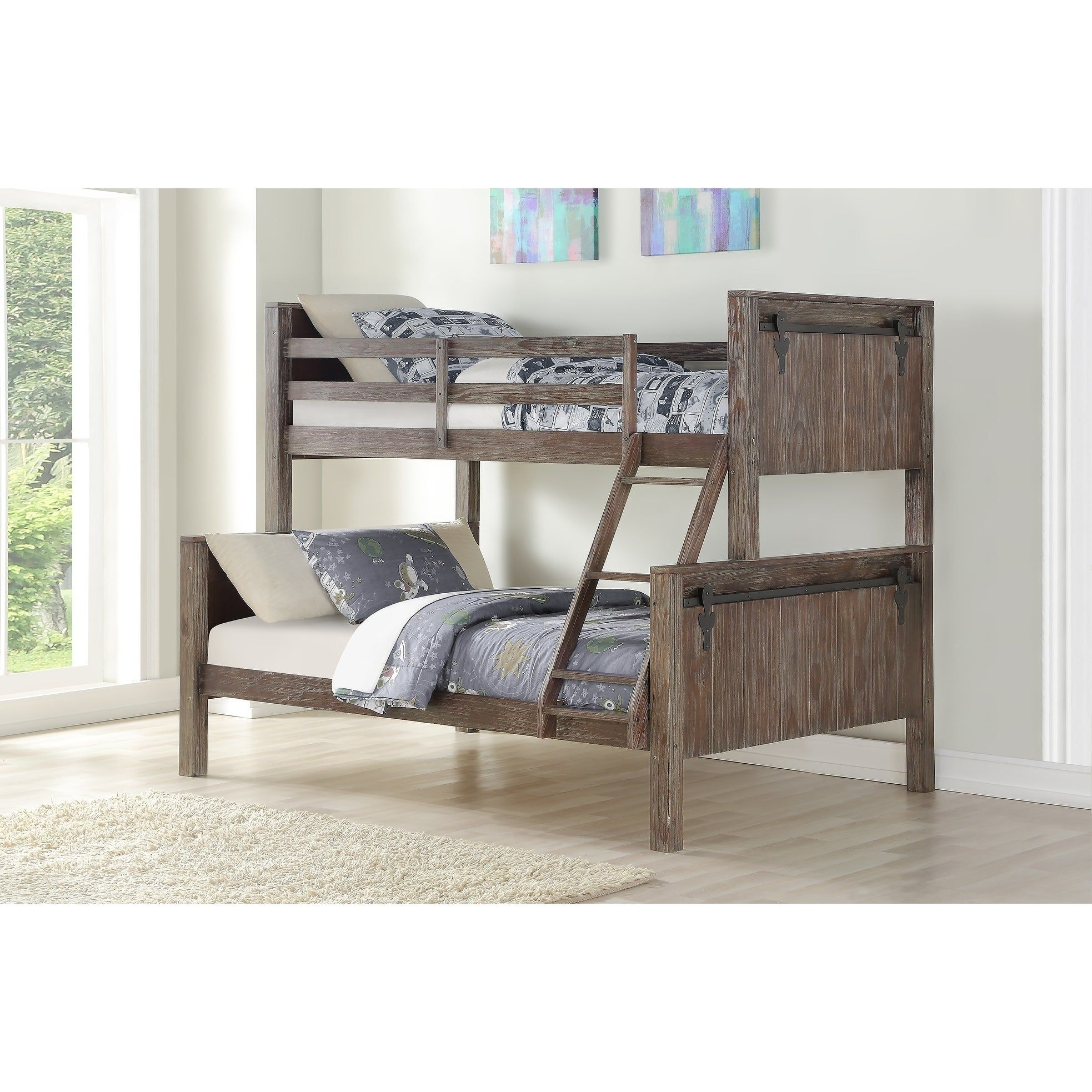 Twin Over Full Barn Door Bunk Bed In Brushed Shadow Brown Bunk Beds Bunk Bed With Trundle Twin Trundle Bed