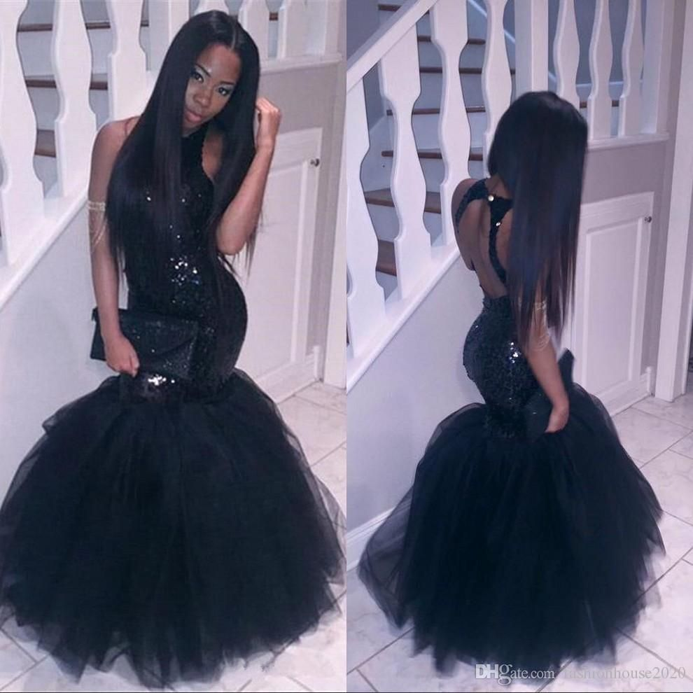 Sparkly Black Girls Mermaid African Prom Dresses 2017 Halter Neck Sequins  Tulle Sexy Corset Formal Dress Cheap Party Pageant Gowns Prom Dresses  African Prom ... 6ac739948c75