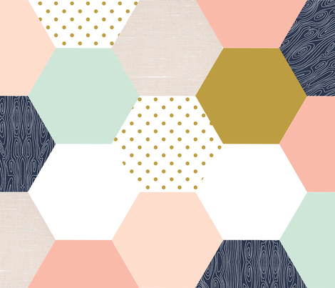 Blush Mint Gold Navy Hexagons fabric by lovepomhouse on Spoonflower - custom…