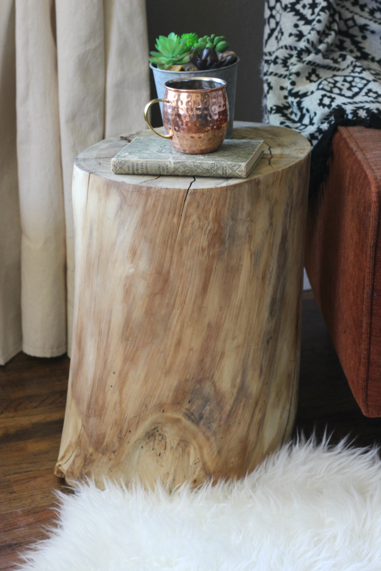 Diy Tree Stump End Table West Elm Hack Salty Willows