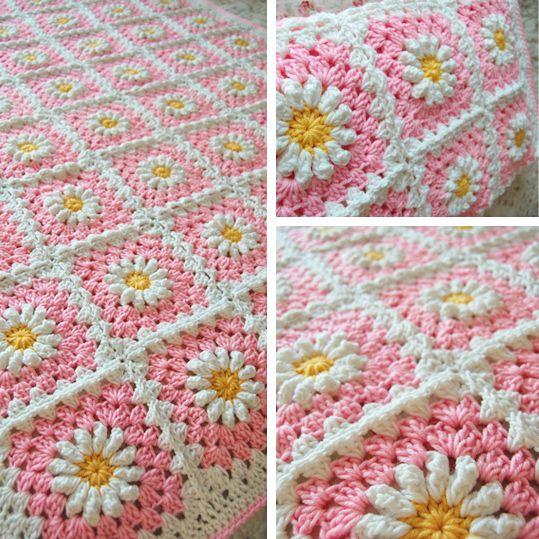 Pink daisy granny square, free pattern | Mantas, pieceras y cojines ...