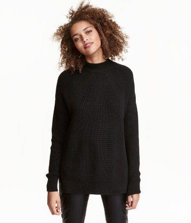 Knit Mock Turtleneck Sweater | Black | Ladies | H&M US | xmas 2k16 ...