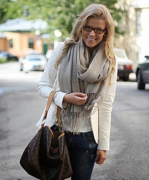 Fall fashion inspiration with scarf and blazer