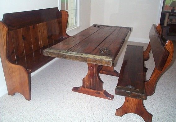 Antique Nautical Furniture, Shows Table, Bench and Pew: the top is made  from a ship's hatch. - Antique Nautical Furniture, Shows Table, Bench And Pew: The Top Is