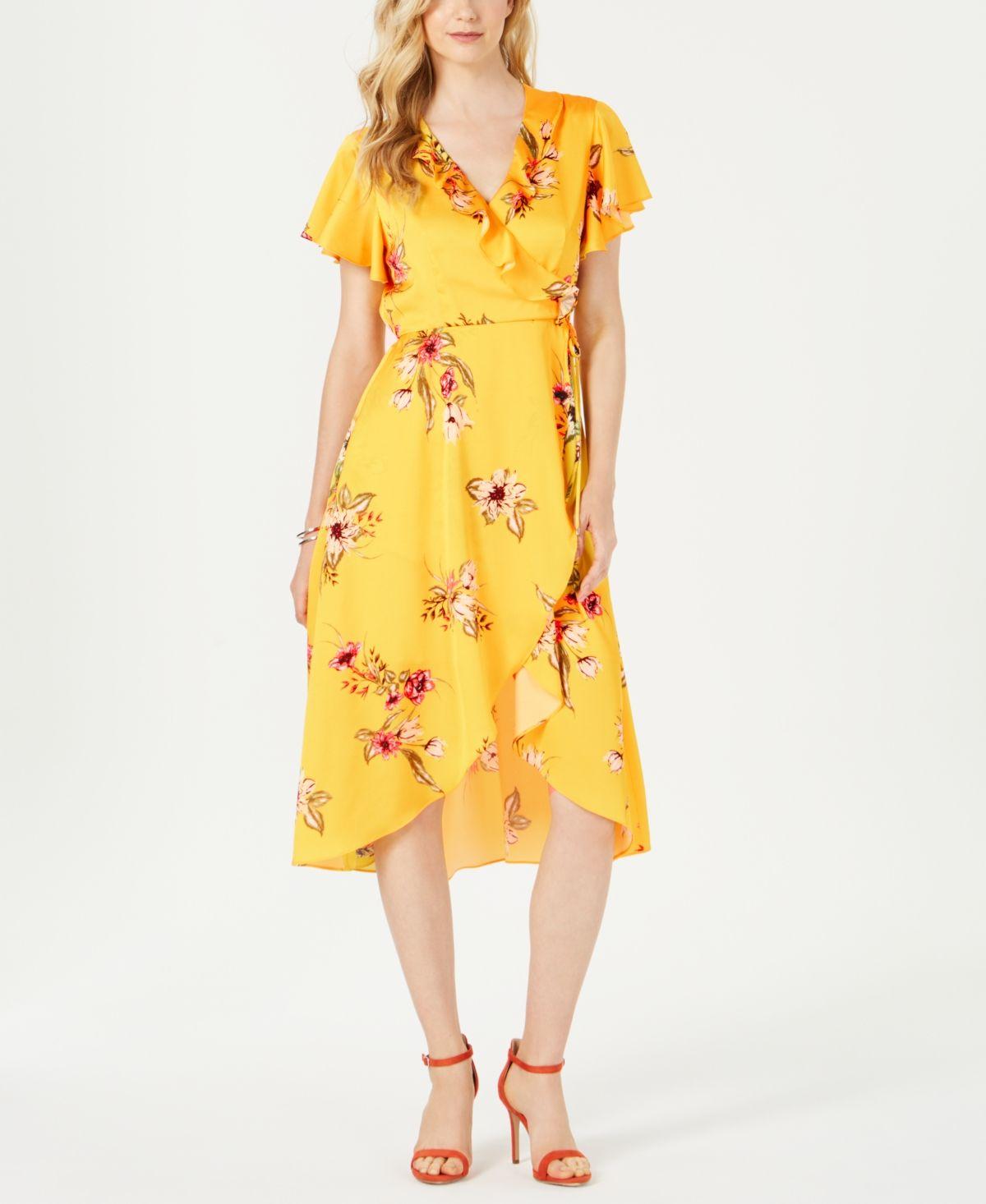 Julia Jordan Printed Faux Wrap Dress Yellow Review Dresses Wrap Dress Yellow Dress