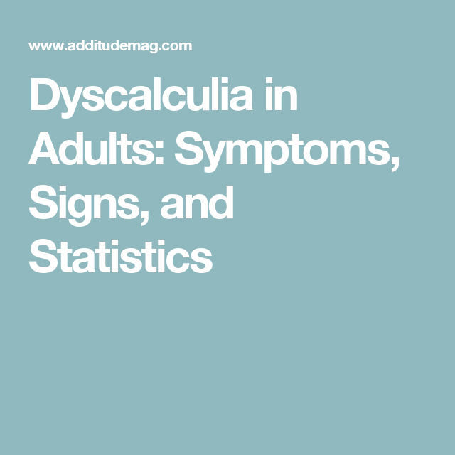 adults Dyscalculia in