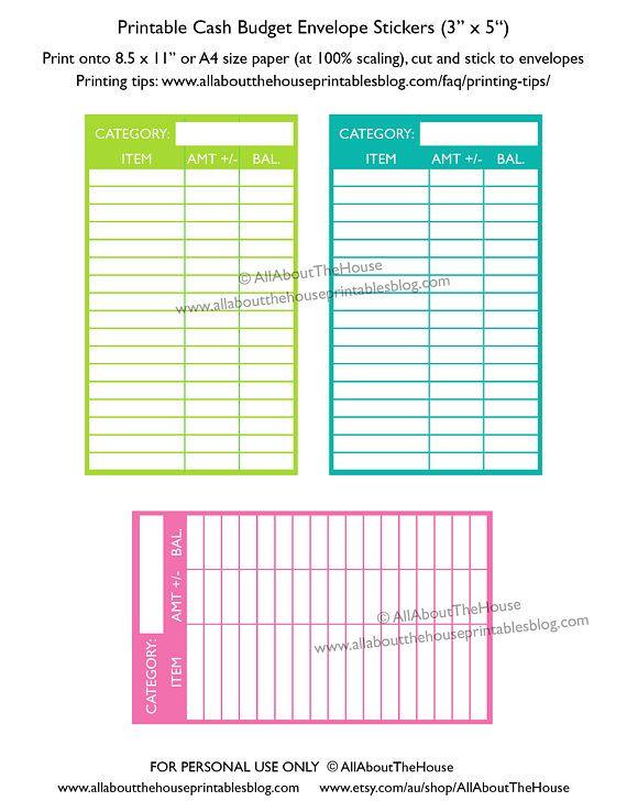 Cash envelope budgeting printable color coded expense category - money size envelopes