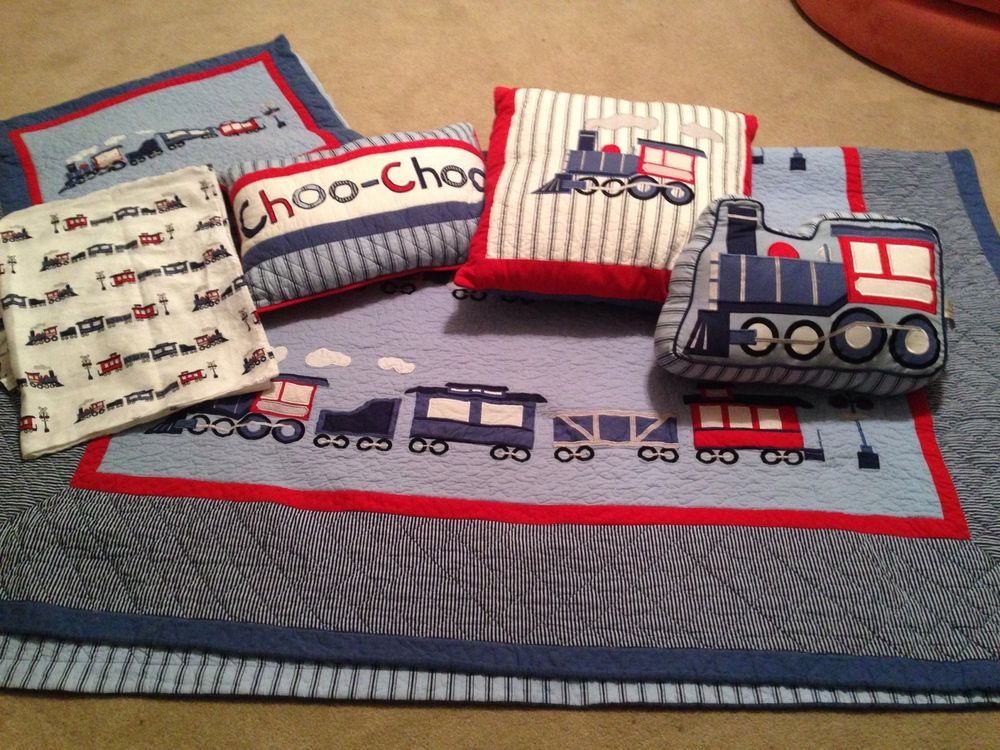 Throw Pillows For Twin Bed : Frolics Boys Train Quilt Set Twin Sheets, Quilt, Sham, Throw Pillows Bedding Lot Emily ...