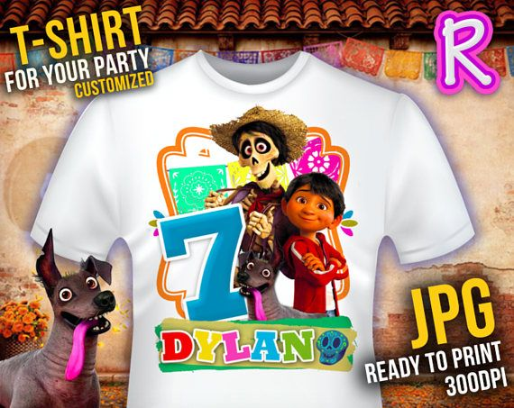 d253f481 T-shirt Customized Disney COCO PARTY Iron On t-shirt | party themes ...