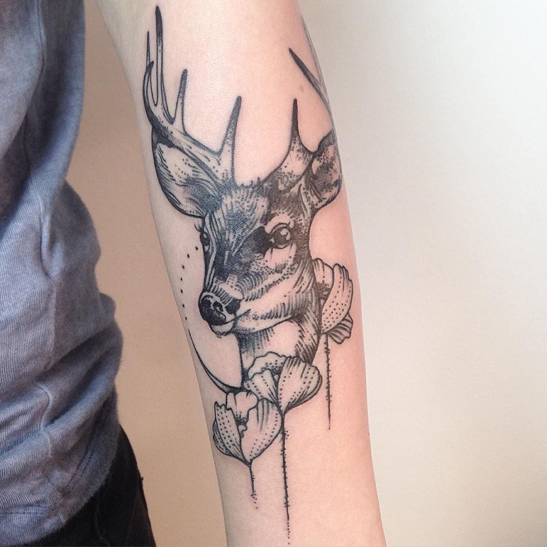 Buck And Doe Tattoos For Couples: Deer Tattoo, Tattoos With Meaning, Deer Tattoo