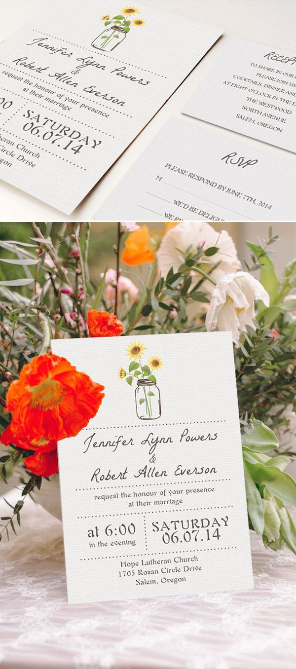 simple rustic wedding invitations with sunflower mason jars EWI355 ...