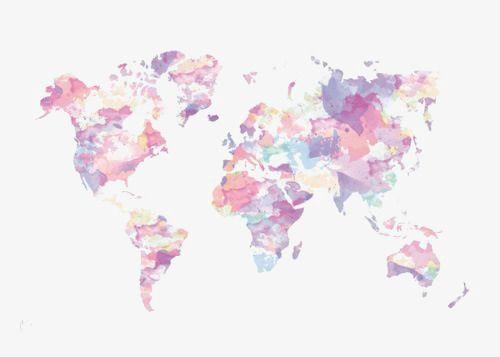 Acuarela Mapa Del Mundo, Mapa De Ilustración, Mapa De