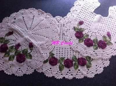 MB Crochê: Jogo de tapete para banheiro flores e folhas