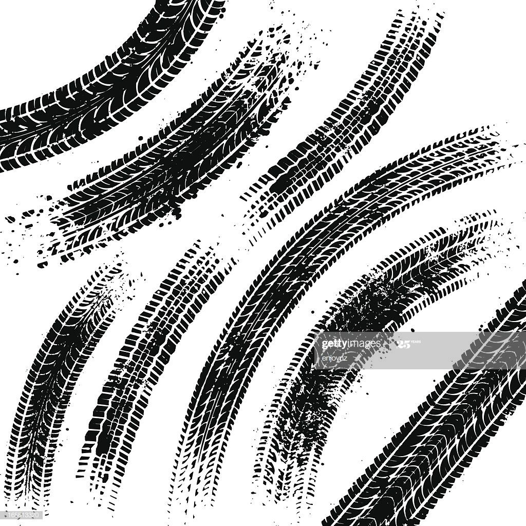 Curved Black Tyre Tracks With Grunge Splatters Tyre Tracks Stock Illustration Illustration