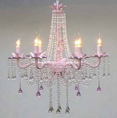 Pink Beaded Shabby Chic Chandelier - 6 Light Lovely!!