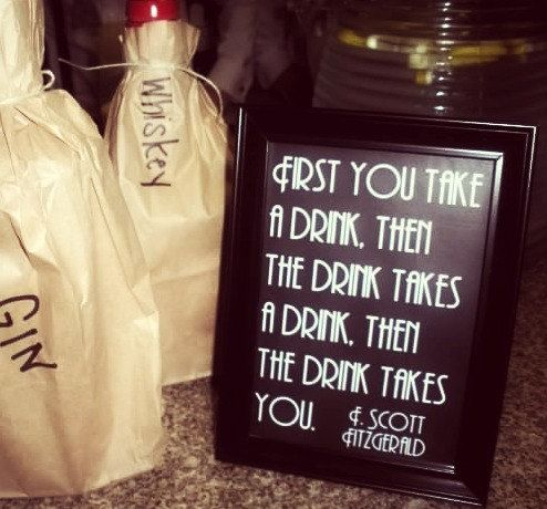 Printable Great Gatsby Fitzgerald Quote Sign Whiskey Bar Wedding